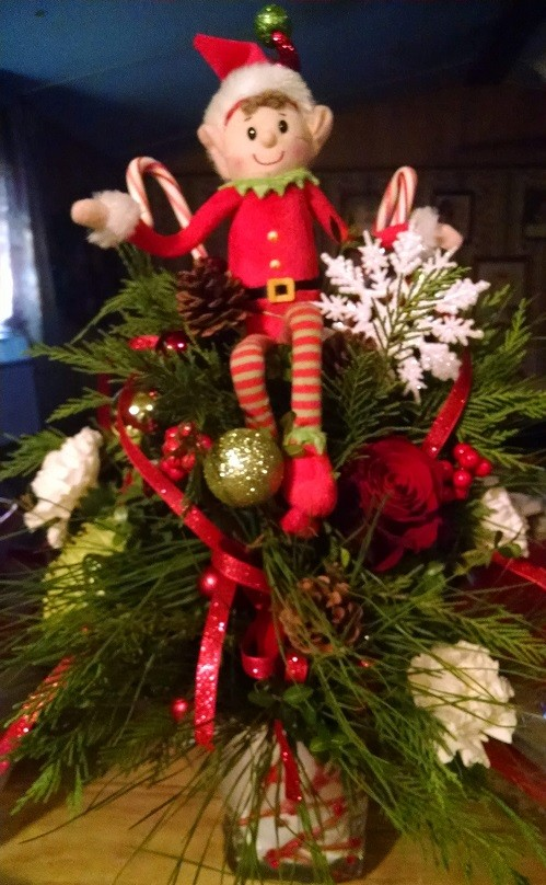Flower All In Blooms Florist Christmas elf decoration Roses